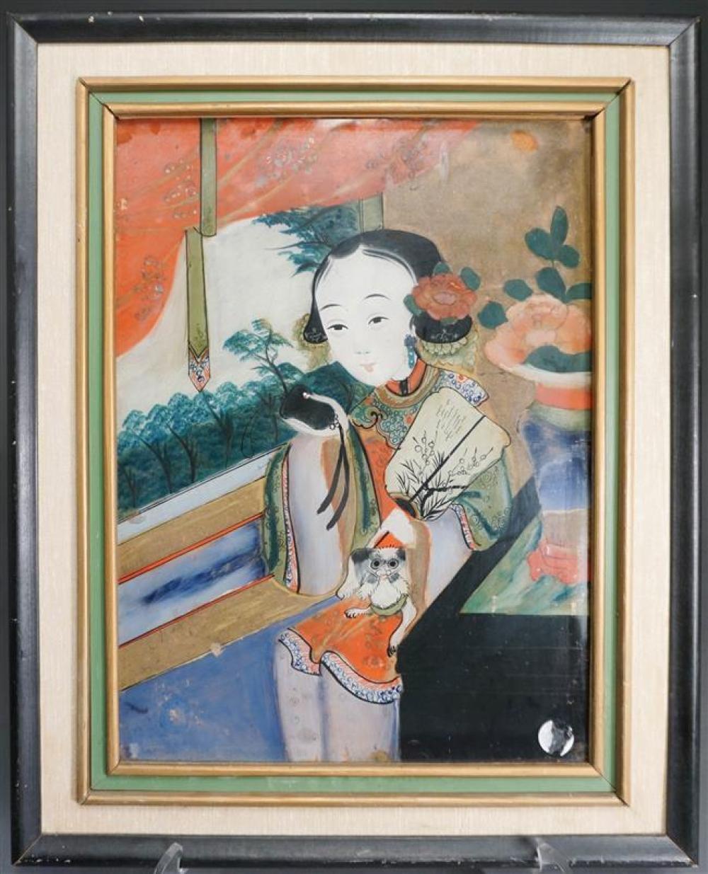 Chinese Export Eglomise Portrait of Lady with Pekingese Dog, Frame: 21 x 17-1/8 in