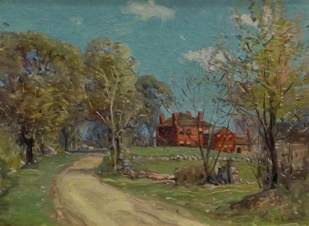 Joseph H. Ensor (American 1881-1960), Landscape with Federal House, Oil on Board, Frame: 19 x 23 in