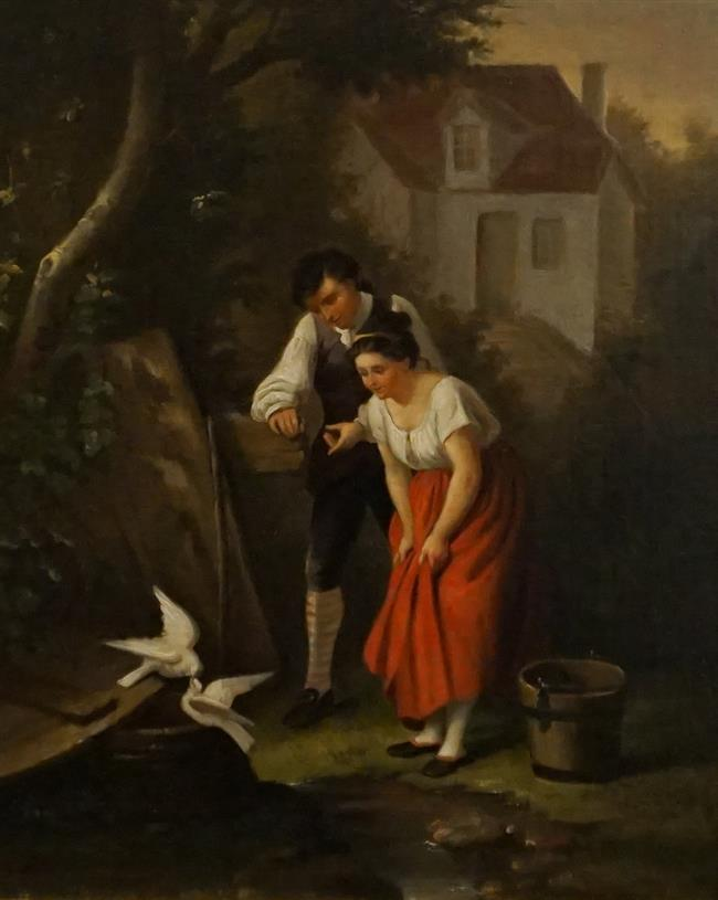 European School 19th Century , Young Couple with Doves, Oil on Canvas, Frame: 20-1/4 x 17-1/4 in
