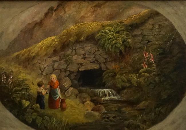 English School 19th Century , Girls Gathering Water, Oil on Artist Board, Frame: 13-3/4 x 17-3/4 in