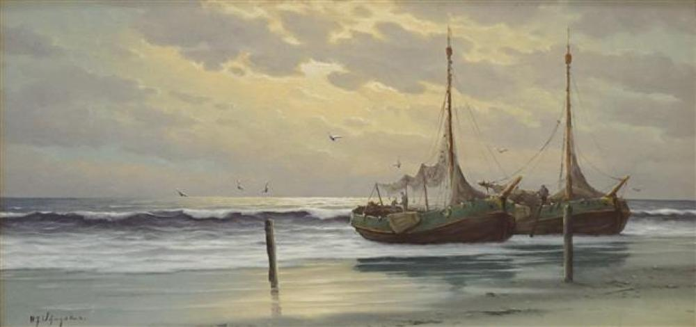 Hermanus Wijngaard, Fishing Boat Along the Shore at Sunrise, Oil on Canvas, Frame: 29-1/4 x 53 in