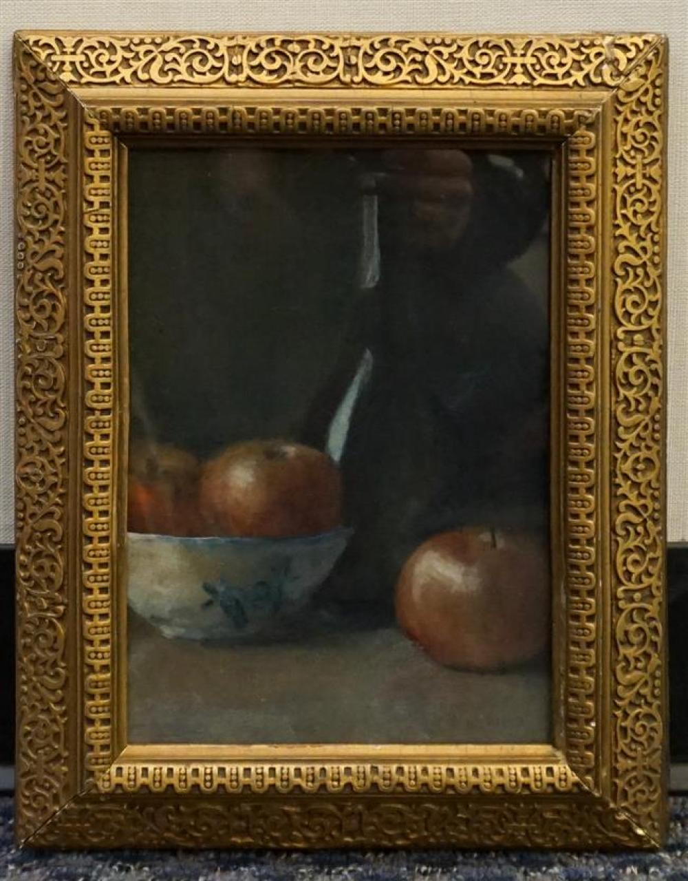 American School19th Century, Still Life of Bowl of Apples with a Wine Bottle, Watercolor and Gouache on Paper, Frame: 13-1/2 x 11 in