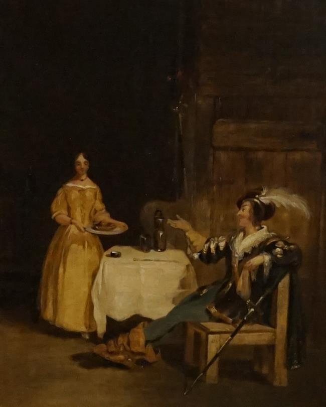 English School 19th Century, Cavalier and a Serving Maid, Oil on Canvas Laid Down on Paper, Frame: 15-3/4 x 13-3/4 in