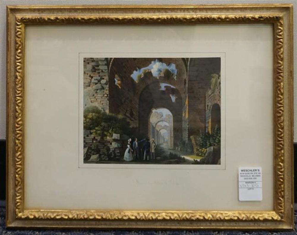Ruins du Palais de Calule (sic), Hand Colored Engraving on Paper, Frame: 13-1/2 x 17-1/4 in