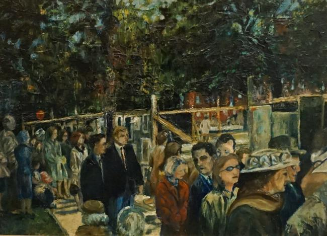 American 20th Century School, Outdoor Art Show, Oil on Board, Frame: 17-1/2 x 22-1/2 in
