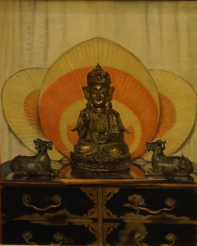 Dirk Schafer (Dutch 1864-1941), Buddhist Shrine, Oil on Canvas, Frame: 30 x 25-1/2 in