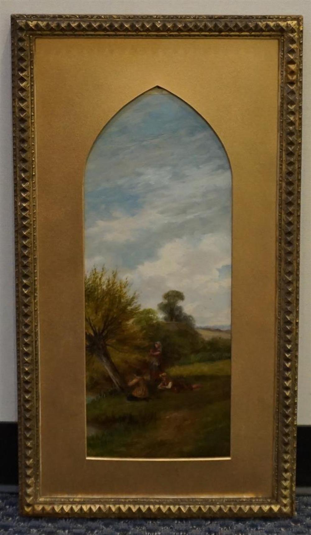 Frank Turner (English fl. 1863-1875) Children by a Stream, Oil on Artist Board, Frame: 29-1/2 x 16 in