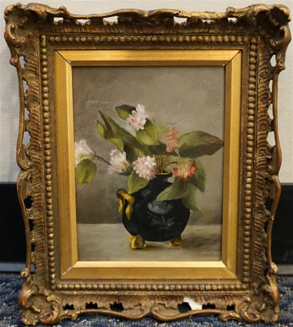 American School, 19th Century Sill Life of a Vase of Flowers, Oil on Board, Frame: 12-3/4 x 10-1/2 in