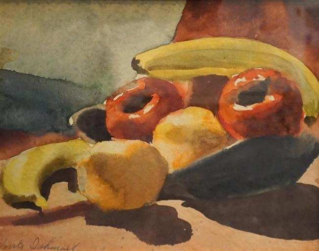 Woodi Ishmael (American 1914-1995), Still Life of Fruit, Watercolor on Paper, Frame: 12 x 14 in