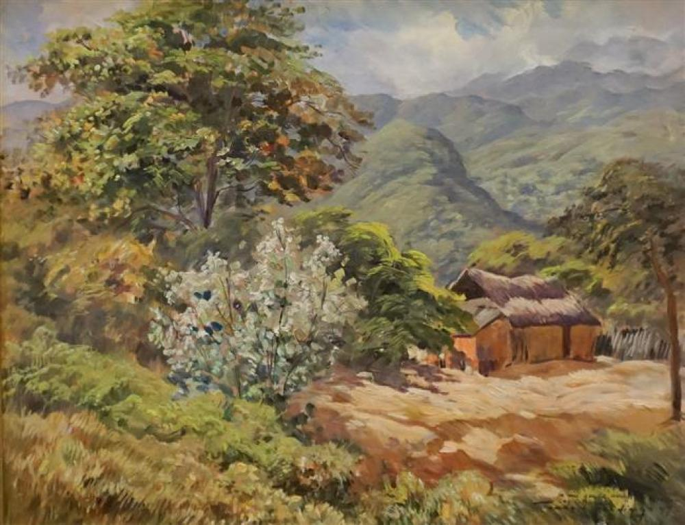 Tomas Golding (Venezuelan 1909-1981), Mountain Landscape with Thatched Cottage, Oil on Canvas, Frame: 27-1/2 x 33 in