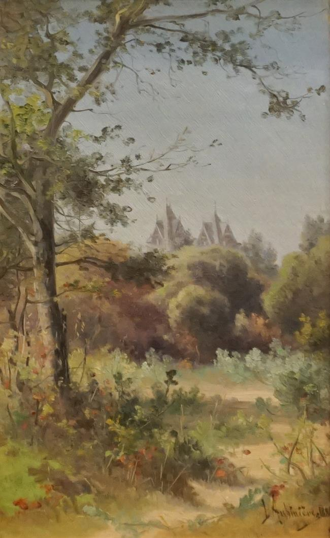 Georgina Martha De L'Aubiniere (Canadian 1848-1930), Landscape Spires in the Distance, Oil on Canvas, Frame: 17-1/2 x 14-1/2 in