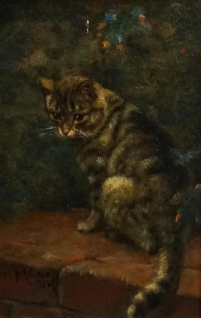 Karl Emil Mucke (German 1847-1923), Cat on a Brick Wall, Oil on Board, Frame: 11-1/4 x 8-3/4 in