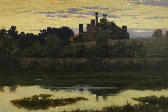 American School, Farm by a Stream, Oil on Canvas, Frame: 12 x 16 in
