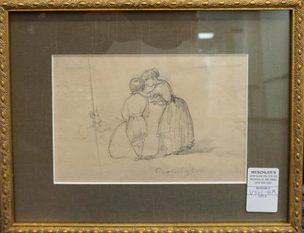 Boy Playing Hoops, Drawing on Laid Paper, Signed Bonnington Frame: 10-3/4 x 13-1/2 in