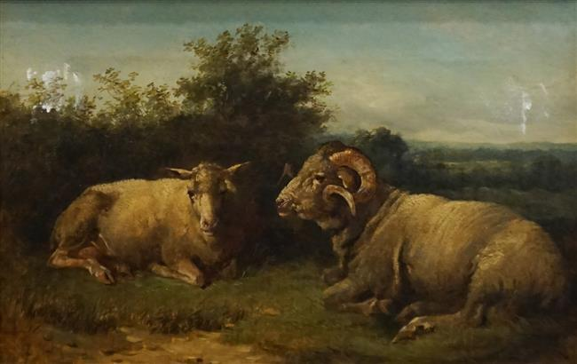 American 19th Century School, Ram and Ewe, Oil on Canvas, Frame: 17-1/2 x 23-1/2 in