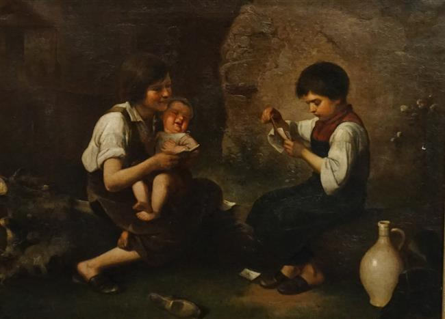 European School 19th Century, The Young Card Players, Oil on Canvas, Frame: 23-1/2 x 29-1/2