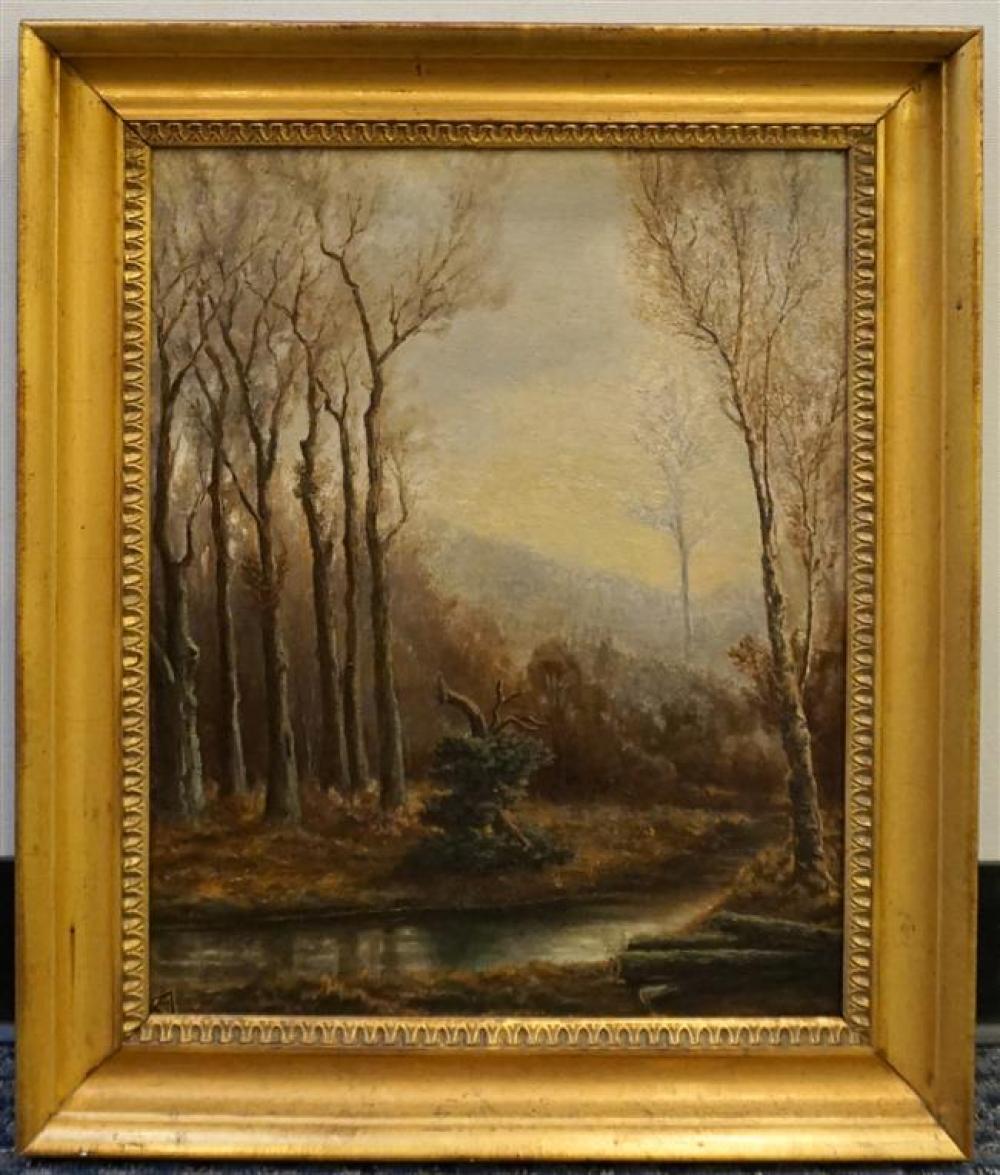 American 20th Century School, Fall River Landscape, Oil on Canvas, Frame: 24 x 20 in
