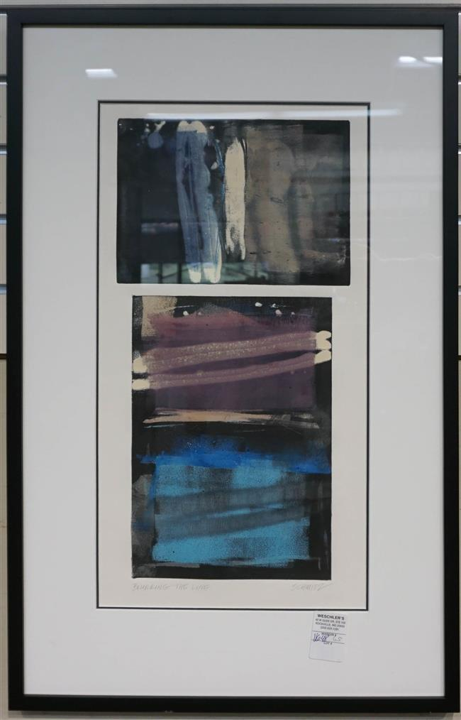 Schmitz, Bluaring the Line, Lithograph, Frame: 29 x 18-5/8 in