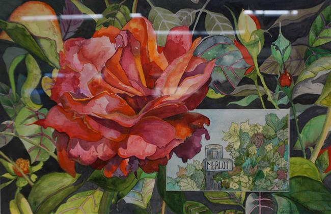 J. Lessin, Wine and Roses, Watercolor, Frame: 19-3/4 x 25-3/4 in