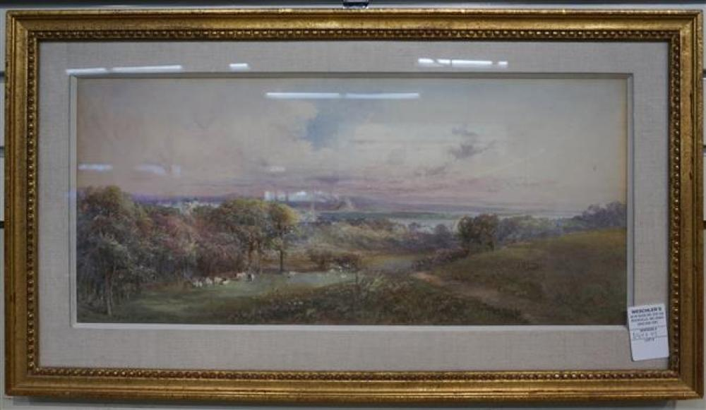 Grace H. Hastie, British 20th Century, View of Pasture with Cows, Watercolor, Frame: 14-1/4 x 25-1/2 in