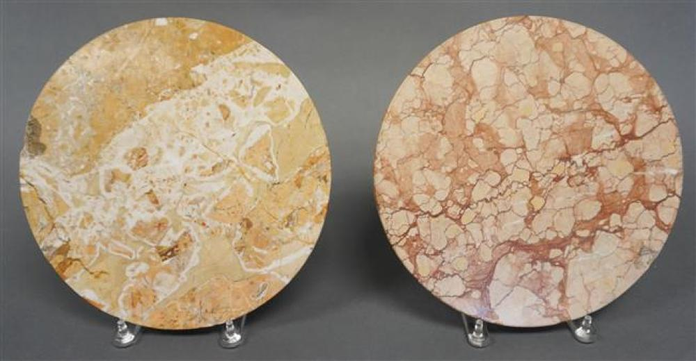 Pair Neoclassical Style Folding Ebonized Metal Base Marble Top Wine Tables, Height: 23 in