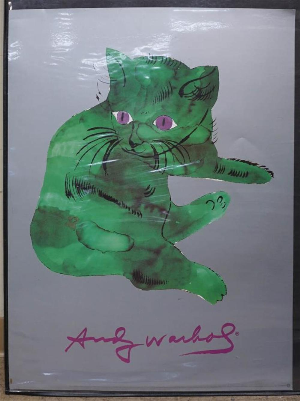 After Andy Warhol, Green Cat, Offset Color Print Poster, Published by Neuse Publishing Co; Unframed 31.5 x 23.75 inches
