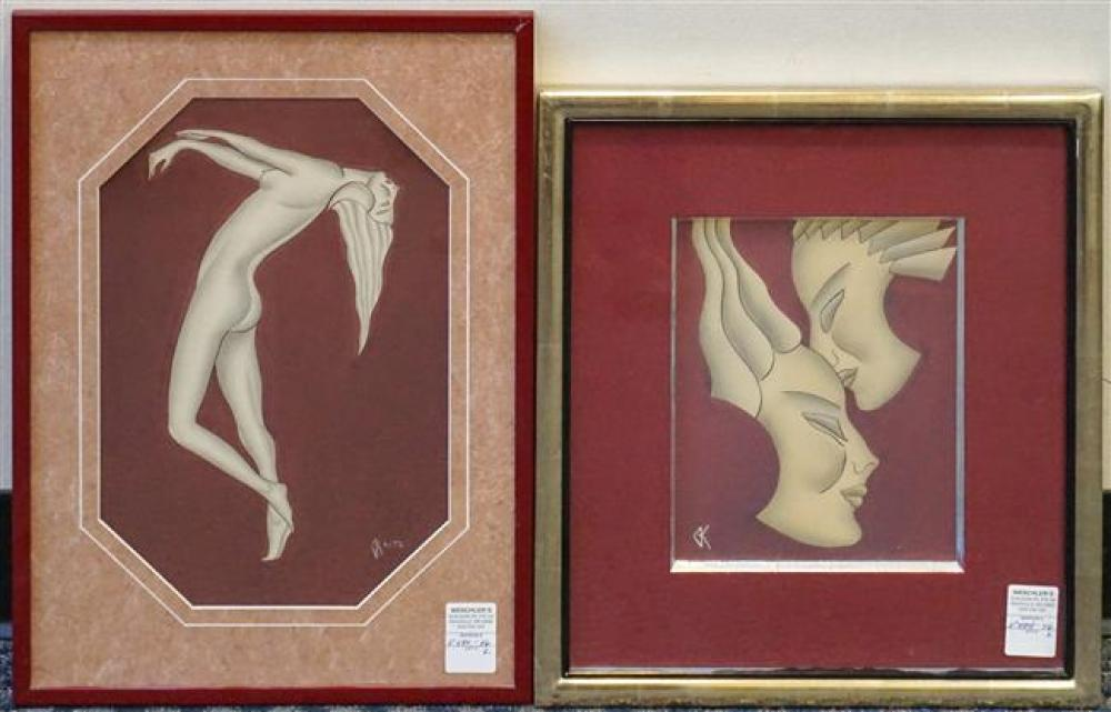 Gustave Kaitz (American 1913-1992), Two Women and Dancer, Two Mixed Media, Frame: 20 x 14 inches