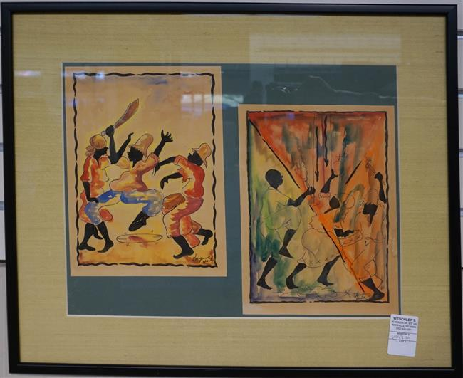 Haitian 20th Century, Dancers, Two Watercolors (framed as one); Framed: 18.25 x 22.5 Height by Width Inches