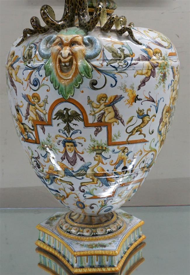 Italian Majolica Decorated Serpent Handle Urn; Height at 29 and Width approximately 16 Inches, (repaired)