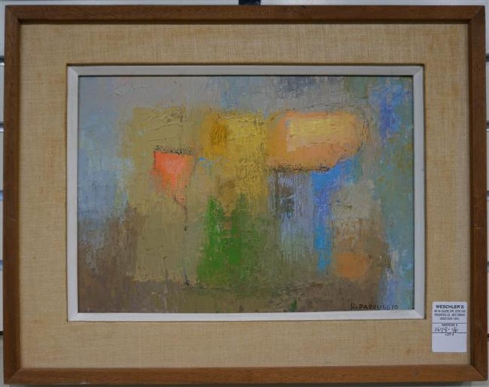 Remo Michael Farruggio (American 1906-1982), Untitled (Abstract), Oil on Masonite; Framed: 14.75 x 18.75 Inches