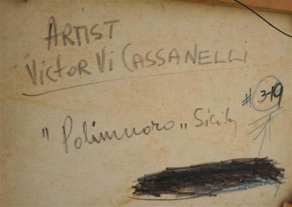 Victor Cassanelli, Polinero Sicily, Oil on Canvas; Framed: 18 x 22 Inches