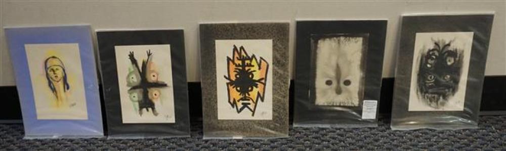 "Jean Claude ""Tiga"" Garoute, Five Unframed Watercolors and Ink , 10-3/4 x 8-1/2 in"