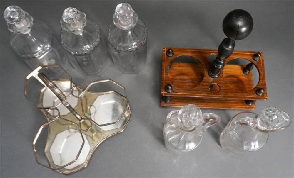 English Sheffield Plate Tantalus and a English Two Bottle Cruet Set