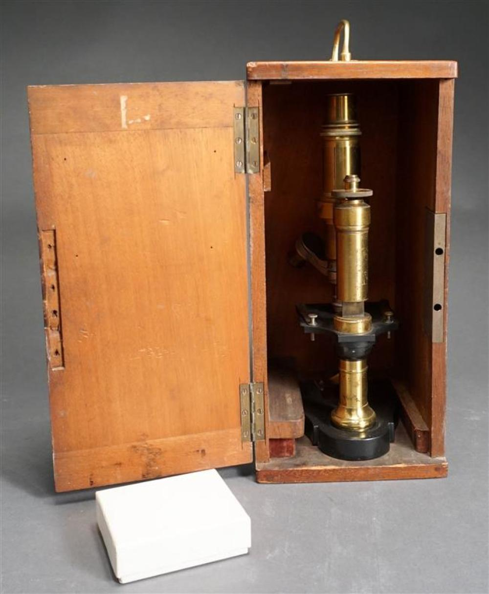 Brass Compound Microscope by Camille Sebastion Nachet Height: 14-1/2 in