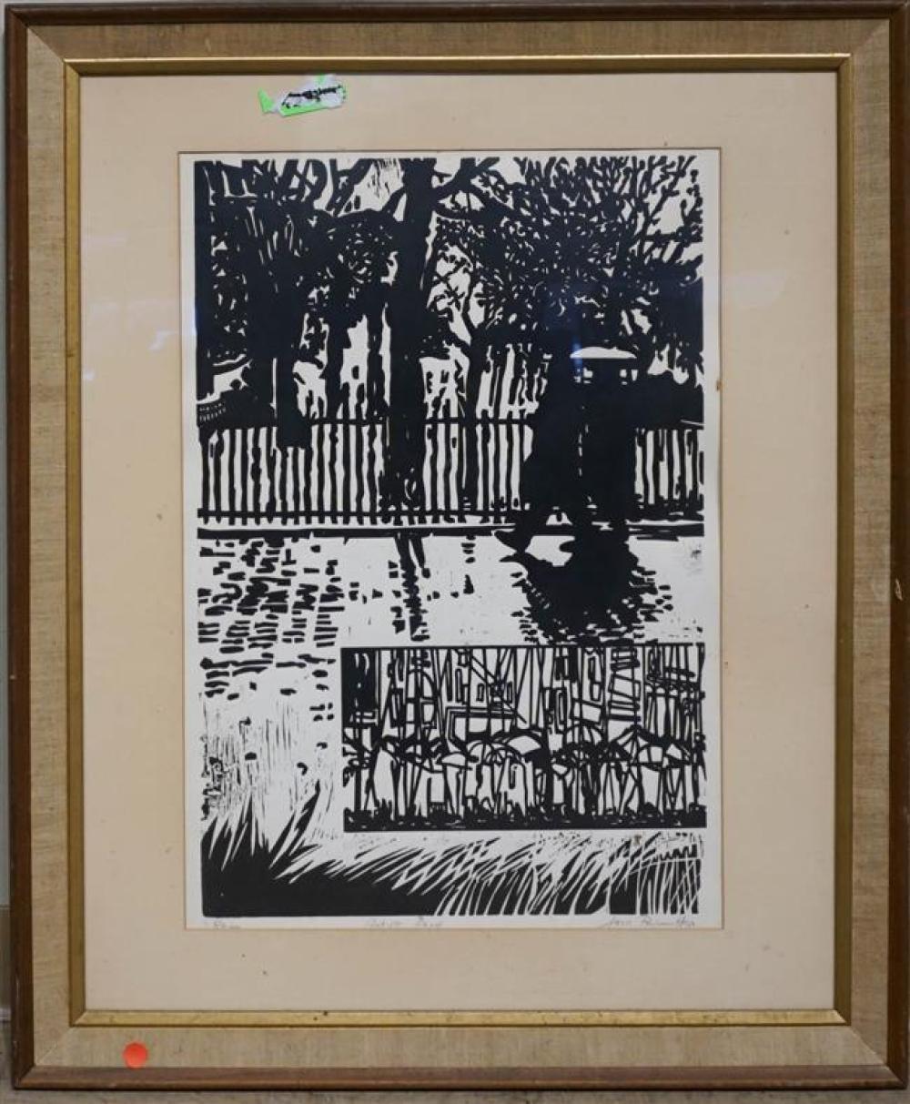 Jack Perlmutter, Rain, Block Print, Artist's Proof; Framed: 34 x 28 Inches
