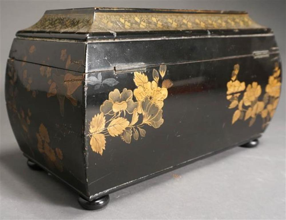 Chinoiserie Decorated Black Lacquer Tea Caddy, H: 13 in, W: 6-3/4 in, D: 7-1/2 in