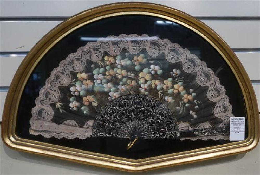 Continental Partial Lace Hand Fan in Shadowbox Frame, Frame: 13-1/2 x 20-3/4 in