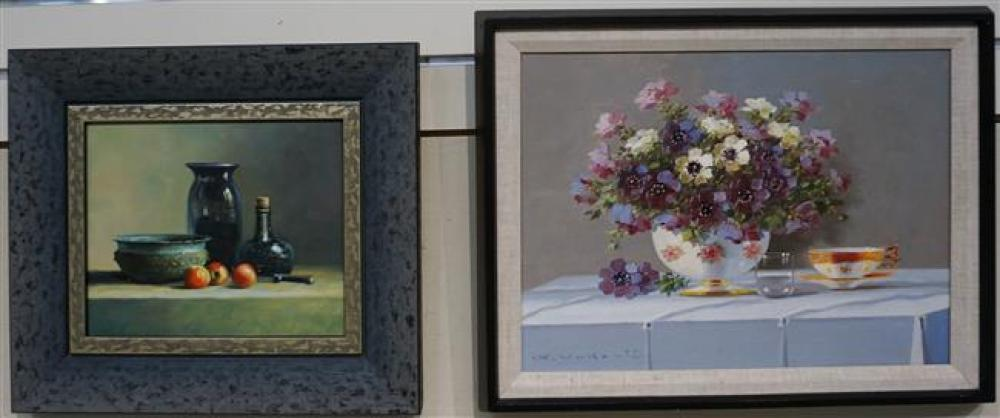 20th Century, Table Top Still Life, Two Oils on Canvas (one signed); Largest Frame: 14.75 x 18.75 Inches