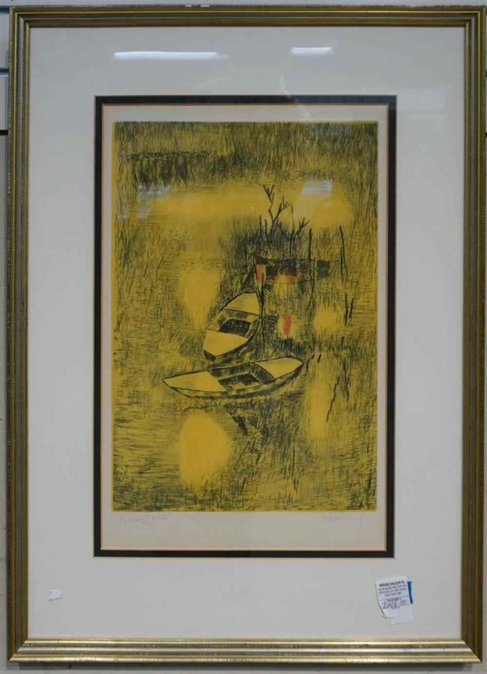 Lebedang, Two Docked Canoes, Color Etching, 9/10; Framed: 28 3/4 x 20 5/8 Inches