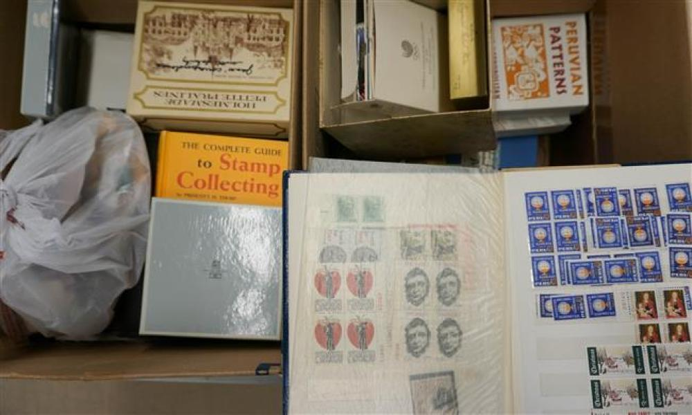 Two Boxes with First Day Covers, American and International Block Loose Stamps