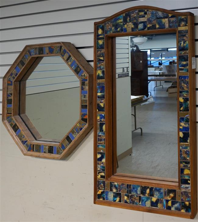 """Two Mosaic Tile Frame Mirrors; Signed """"George Cohen'; Largest Frame: 37.5 x 20.25 Inches"""