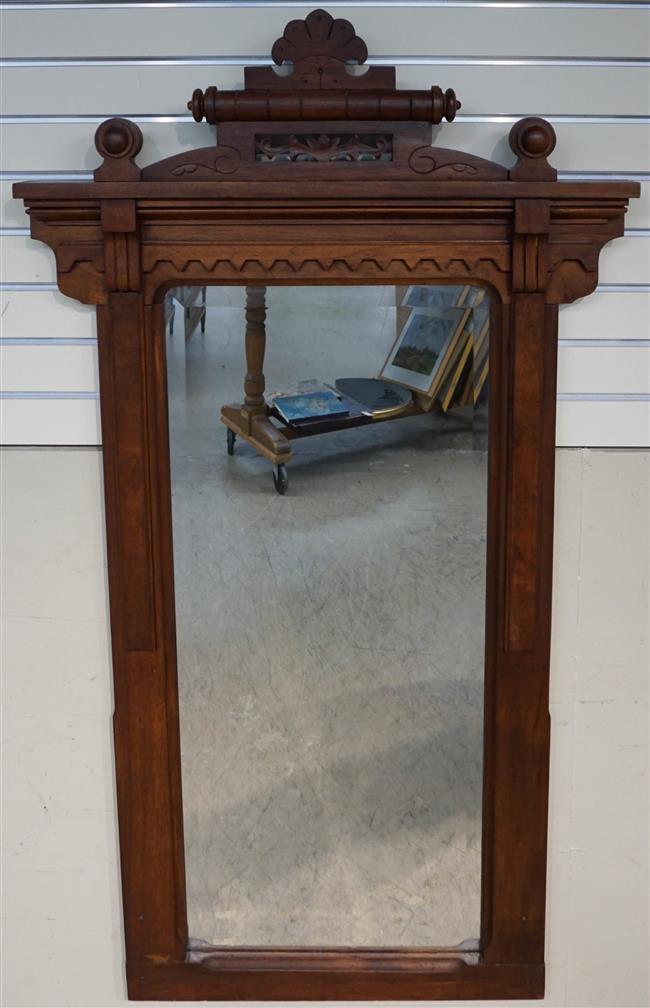 Victorian Walnut Pier Mirror; 56 x 31 Height by Width Inches