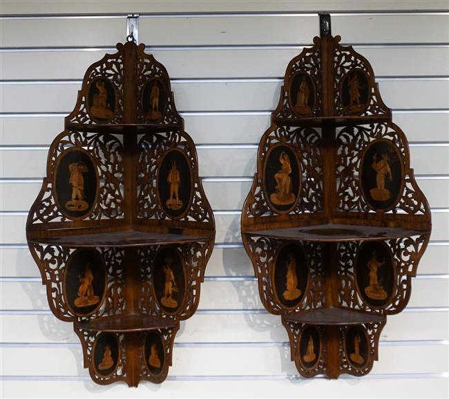 Pair of Italian Sorrento-ware Olivewood Fret Carved Hanging Corner Shelves, Height: 31 in, Width: 15 in, Depth: 10-1/2 in