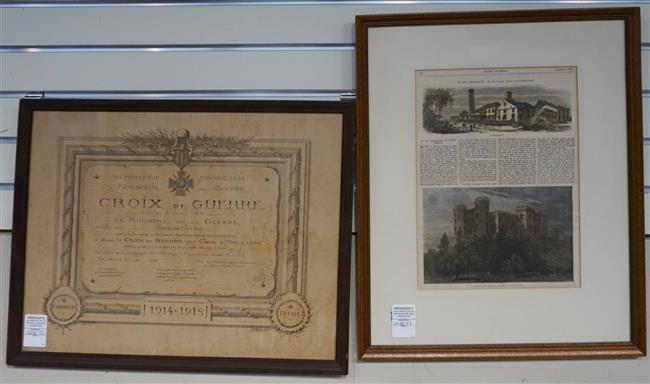 French 'Croix de Guerre', and Framed Every Saturday 'On the Mississippi', Dated 1871; Larger Frame: 21.25 x 16.75 Inches