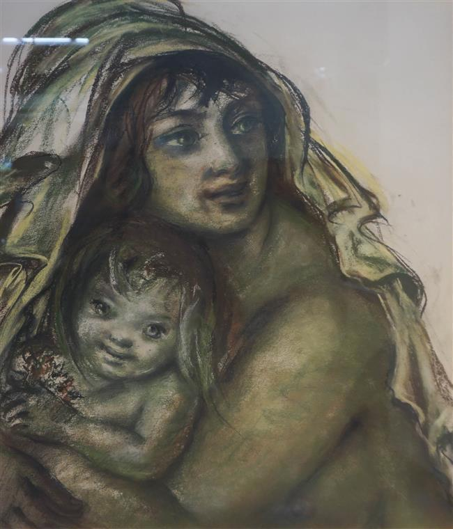 20th Century, Mother and Child, Pastel; Framed: 31 7/8 x 28 1/4 Inches
