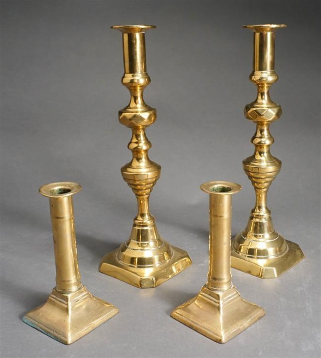 Two Pairs of Brass Candlesticks, Taller: 12 in tall