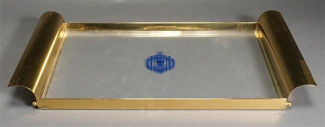 U.S. Naval Academy Brass and Glass Two-Handle Tray