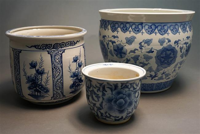 Three Chinese Blue and White Porcelain Jardinieres; Height of Tallest at 13 inches