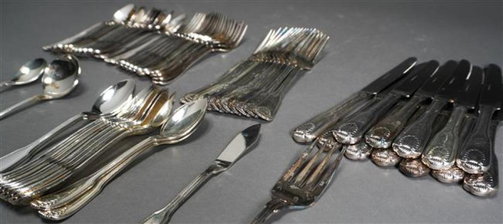 Silver Plate Fiddle, Shell and Thread Pattern Flat Table Service