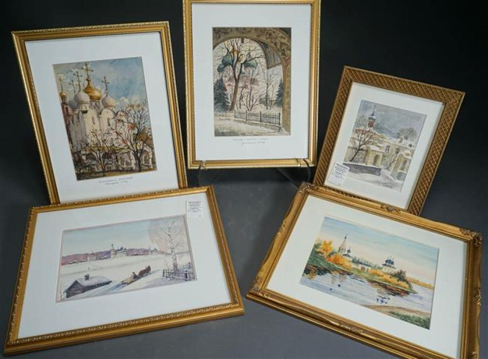 Russian, 20th Century, Russian Architecture, Pastoral and Winter Scenes, Five Watercolors; Largest Frame Size: 13 x 15 Inches